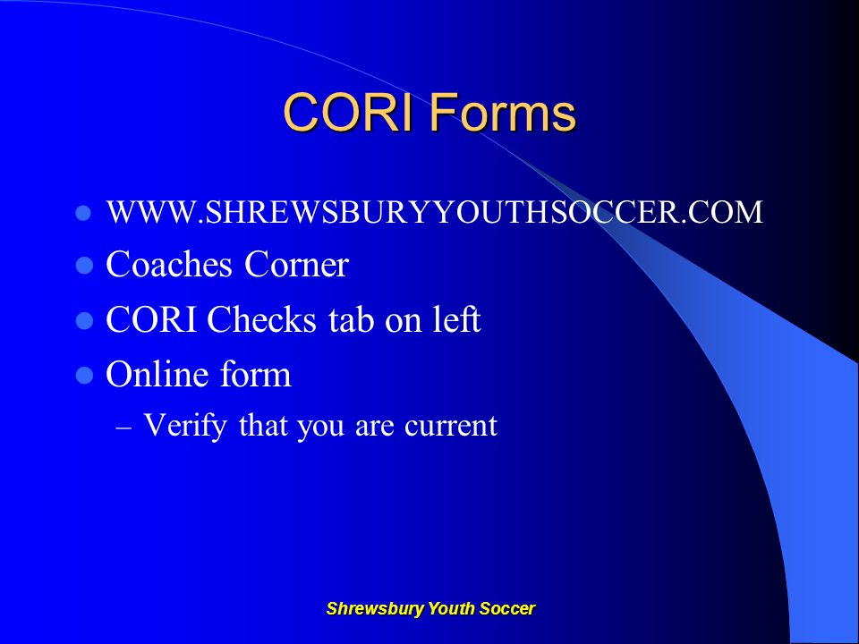 Shrewsbury Youth Soccer Playing Time It is our policy that as a member of a team, each player during a game be given equal playing time when possible.
