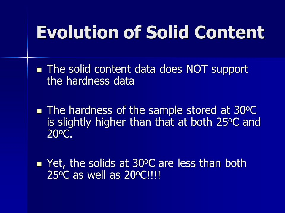 Evolution of Solid Content The solid content data does NOT support the hardness data The solid content data does NOT support the hardness data The hardness of the sample stored at 30 o C is slightly higher than that at both 25 o C and 20 o C.