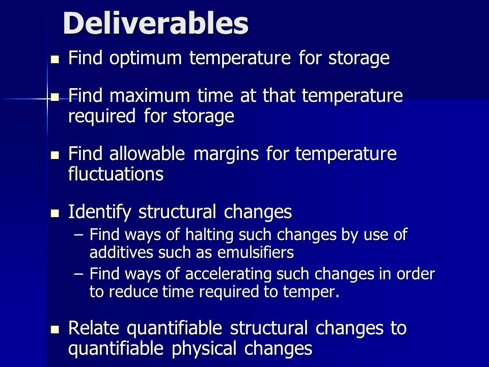Deliverables Find optimum temperature for storage Find optimum temperature for storage Find maximum time at that temperature required for storage Find maximum time at that temperature required for storage Find allowable margins for temperature fluctuations Find allowable margins for temperature fluctuations Identify structural changes Identify structural changes –Find ways of halting such changes by use of additives such as emulsifiers –Find ways of accelerating such changes in order to reduce time required to temper.