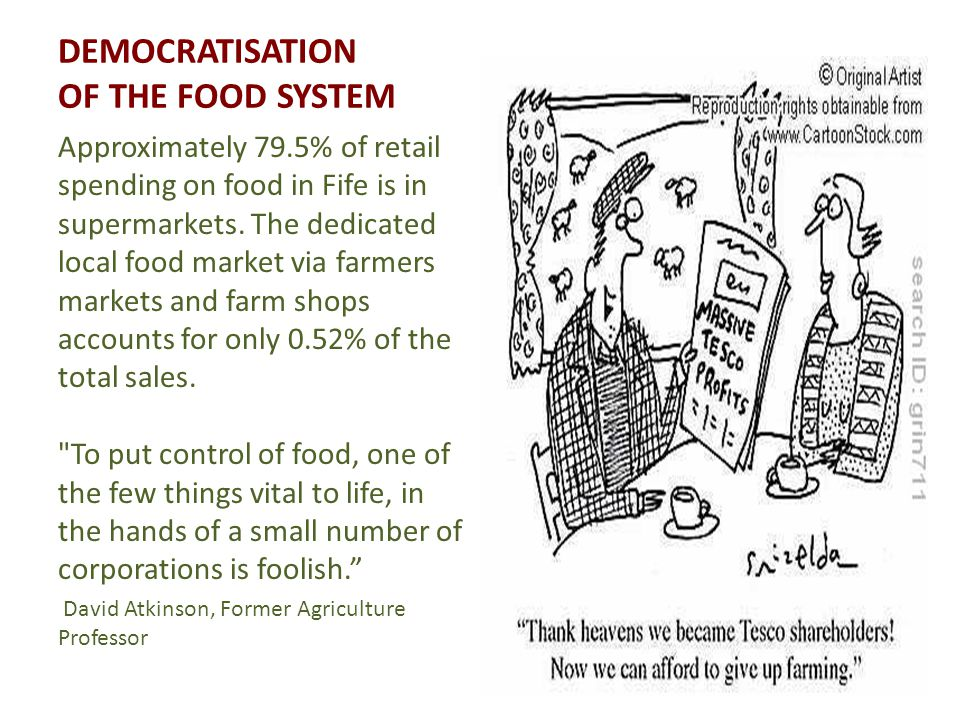 DEMOCRATISATION OF THE FOOD SYSTEM Approximately 79.5% of retail spending on food in Fife is in supermarkets.