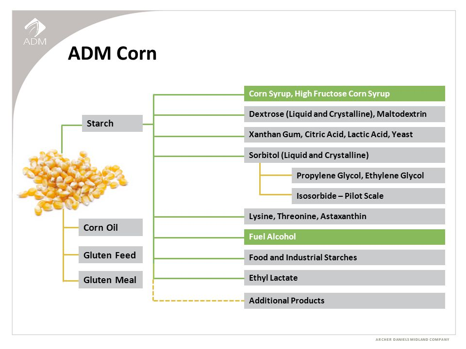 ARCHER DANIELS MIDLAND COMPANY ADM Corn Corn Syrup, High Fructose Corn Syrup Fuel Alcohol Dextrose (Liquid and Crystalline), Maltodextrin Xanthan Gum, Citric Acid, Lactic Acid, Yeast Propylene Glycol, Ethylene Glycol Additional Products Ethyl Lactate Food and Industrial Starches Lysine, Threonine, Astaxanthin Corn Oil Gluten Feed Gluten Meal Starch Isosorbide – Pilot Scale Sorbitol (Liquid and Crystalline)