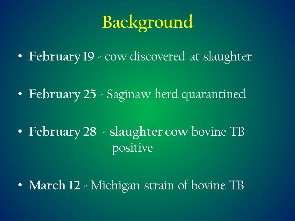 Background February 19 - cow discovered at slaughter February 25 - Saginaw herd quarantined February 28 - slaughter cow bovine TB positive March 12 - Michigan strain of bovine TB