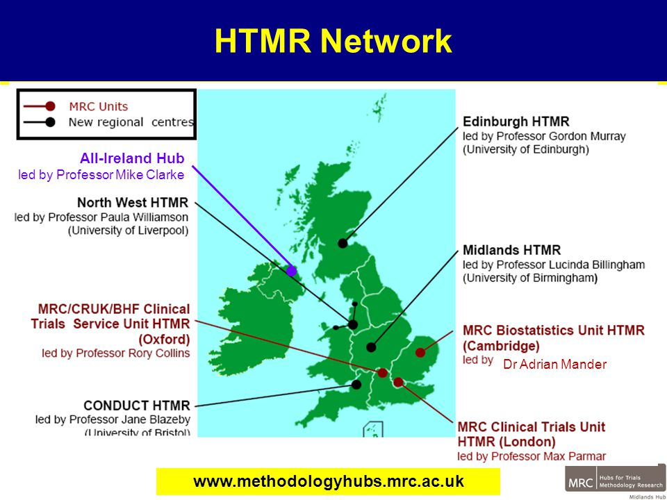 Example of MHTMR Working with CTUs: Trials in Rare Diseases Randomised Phase III trials are the optimal method for establishing best patient care Patients with rare diseases have the same right to evidence based treatment as those with common diseases Phase III trials in rare diseases will never be large enough to determine best practice with adequate certainty Trials in rare diseases are not a worthwhile investment due to high cost-utility
