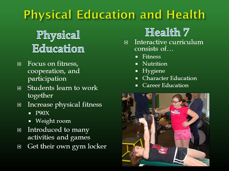  Focus on fitness, cooperation, and participation  Students learn to work together  Increase physical fitness  P90X  Weight room  Introduced to many activities and games  Get their own gym locker  Interactive curriculum consists of…  Fitness  Nutrition  Hygiene  Character Education  Career Education