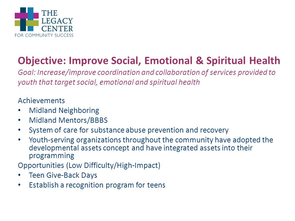 Objective: Improve Social, Emotional & Spiritual Health Goal: Increase/improve coordination and collaboration of services provided to youth that target social, emotional and spiritual health Achievements Midland Neighboring Midland Mentors/BBBS System of care for substance abuse prevention and recovery Youth-serving organizations throughout the community have adopted the developmental assets concept and have integrated assets into their programming Opportunities (Low Difficulty/High-Impact) Teen Give-Back Days Establish a recognition program for teens