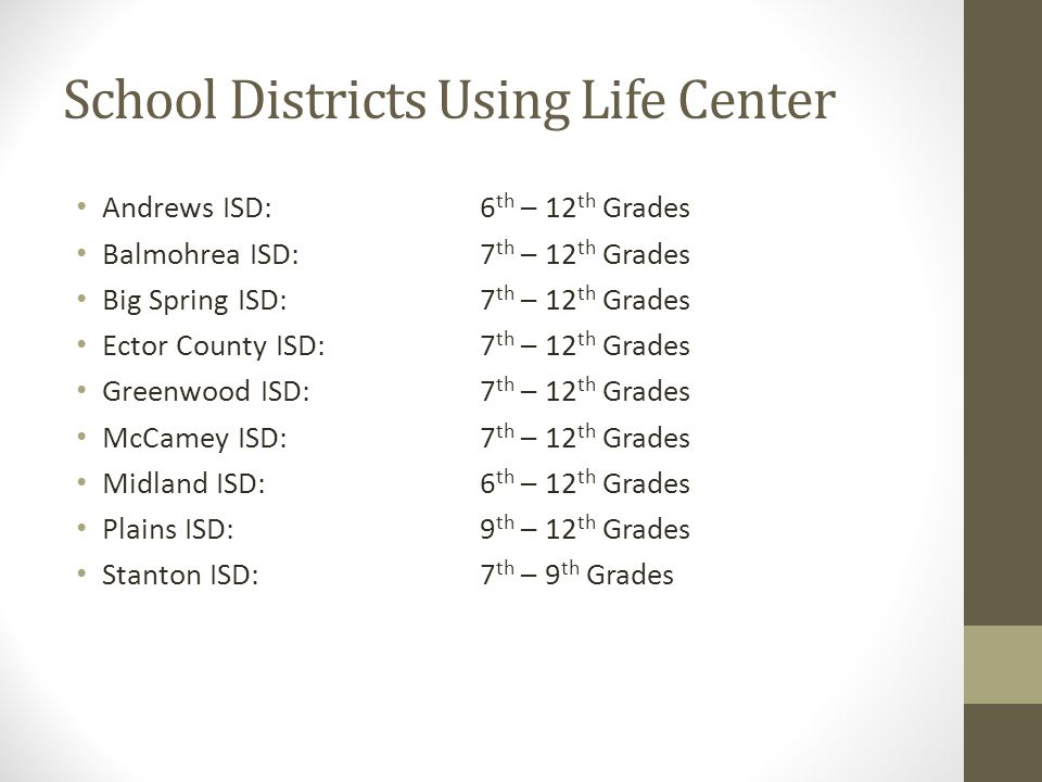 School Districts Using Life Center Andrews ISD:6 th – 12 th Grades Balmohrea ISD:7 th – 12 th Grades Big Spring ISD:7 th – 12 th Grades Ector County I