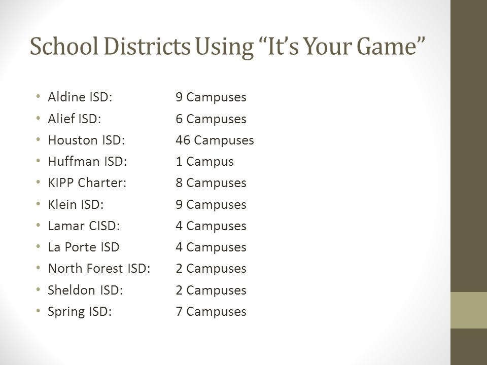 School Districts Using It's Your Game Aldine ISD:9 Campuses Alief ISD:6 Campuses Houston ISD:46 Campuses Huffman ISD:1 Campus KIPP Charter:8 Campuses Klein ISD:9 Campuses Lamar CISD:4 Campuses La Porte ISD4 Campuses North Forest ISD:2 Campuses Sheldon ISD:2 Campuses Spring ISD:7 Campuses
