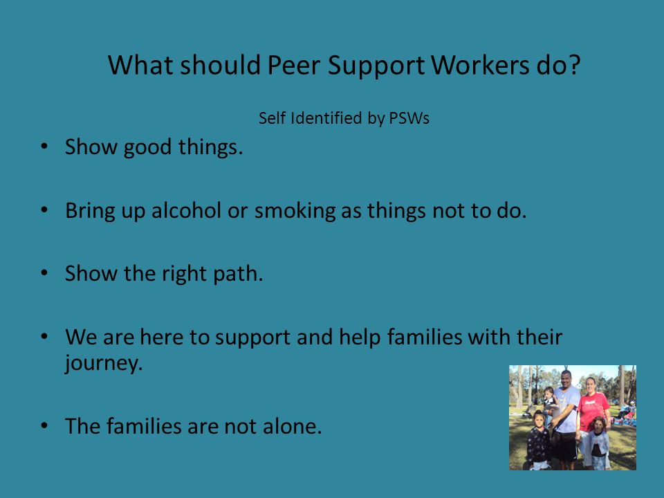 What should Peer Support Workers do.Self Identified by PSWs Show good things.