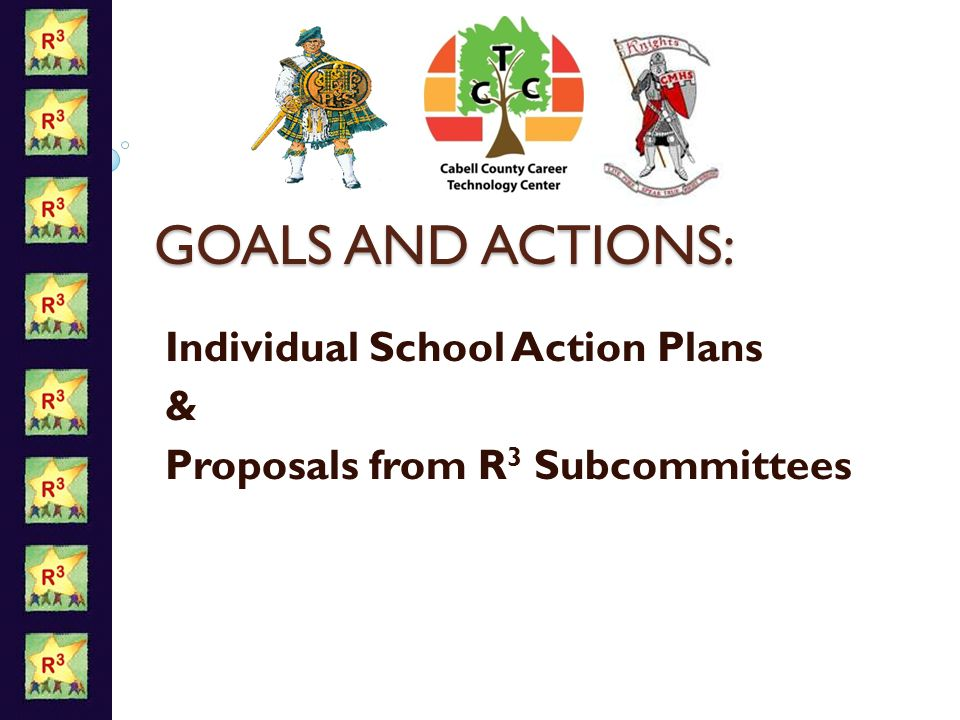 GOALS AND ACTIONS: Individual School Action Plans & Proposals from R 3 Subcommittees