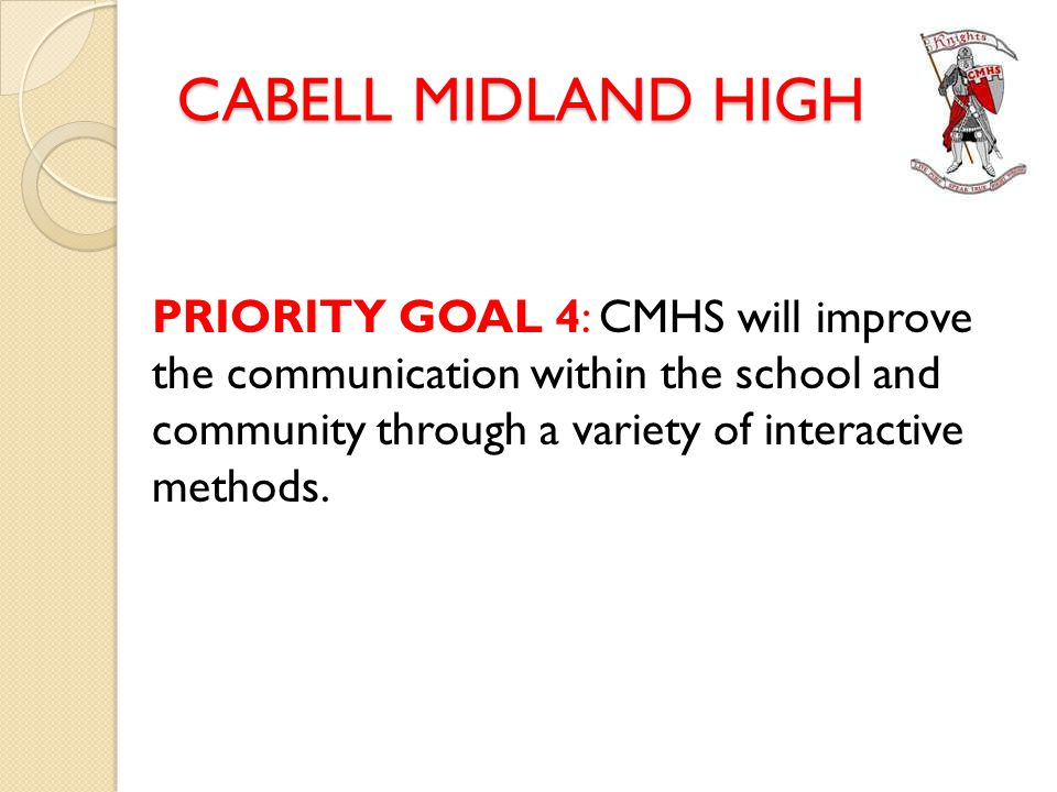 CABELL MIDLAND HIGH PRIORITY GOAL 4: CMHS will improve the communication within the school and community through a variety of interactive methods.