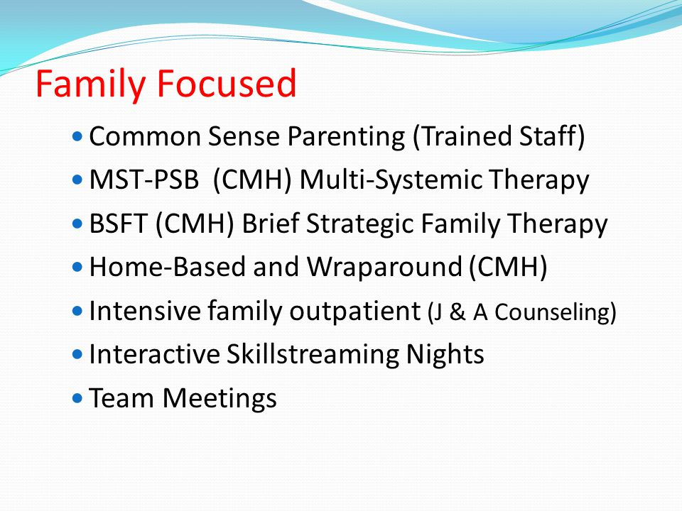 Family Focused Common Sense Parenting (Trained Staff) MST-PSB (CMH) Multi-Systemic Therapy BSFT (CMH) Brief Strategic Family Therapy Home-Based and Wraparound (CMH) Intensive family outpatient (J & A Counseling) Interactive Skillstreaming Nights Team Meetings