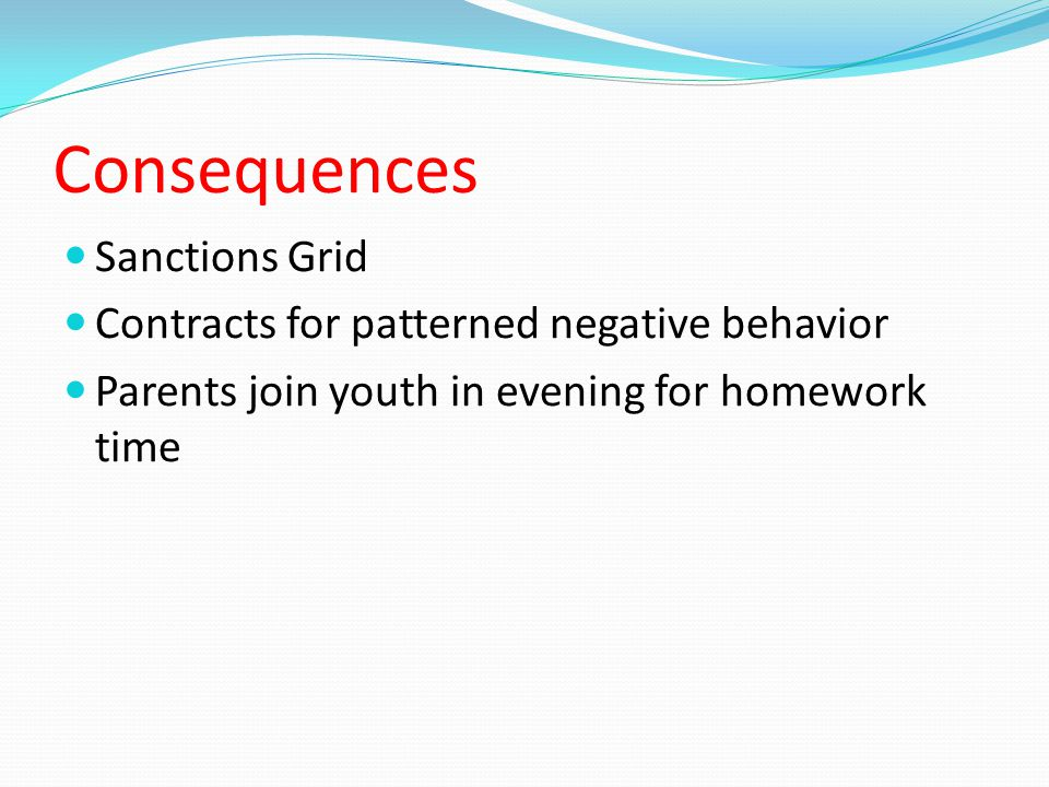 Consequences Sanctions Grid Contracts for patterned negative behavior Parents join youth in evening for homework time