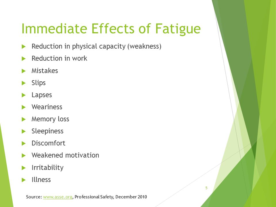 Immediate Effects of Fatigue  Reduction in physical capacity (weakness)  Reduction in work  Mistakes  Slips  Lapses  Weariness  Memory loss  Sleepiness  Discomfort  Weakened motivation  Irritability  Illness Source: www.asse.org, Professional Safety, December 2010www.asse.org 5