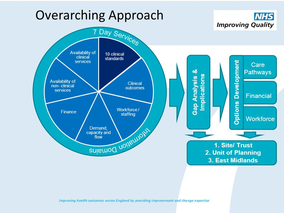 Overarching Approach Gap Analysis & Implications 1.Site/ Trust 2.Unit of Planning 3.East Midlands Options Development Care Pathways Financial Workforce