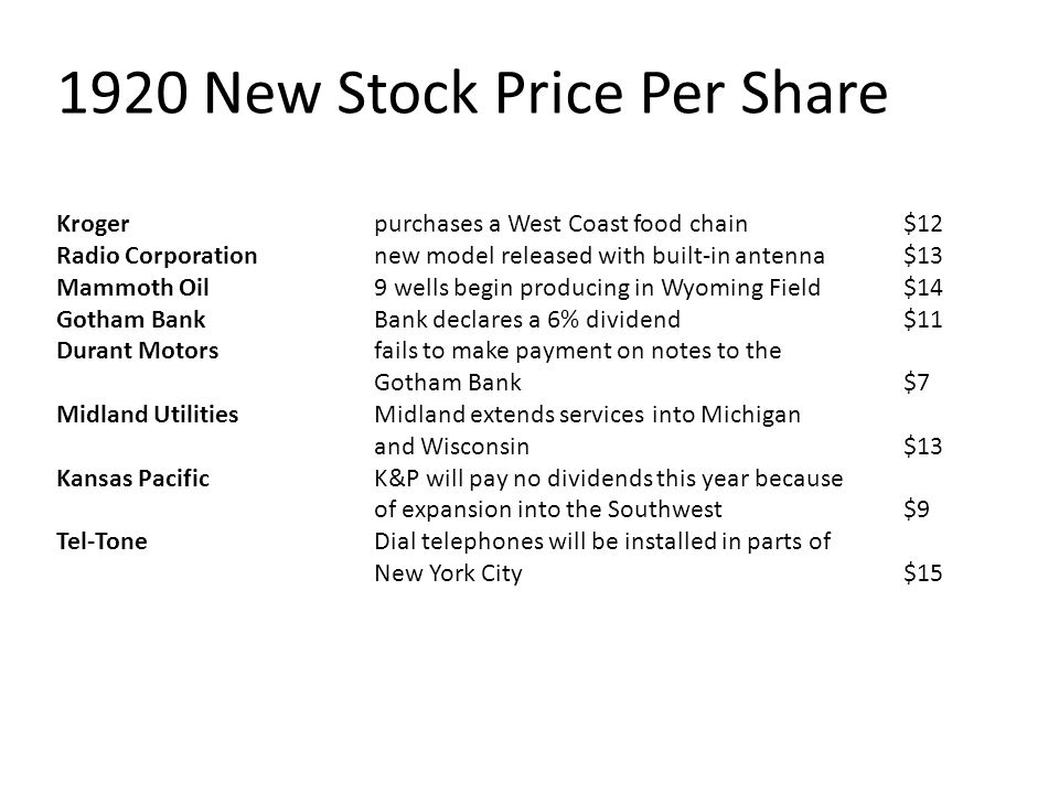 1920 New Stock Price Per Share Kroger purchases a West Coast food chain $12 Radio Corporation new model released with built-in antenna $13 Mammoth Oil