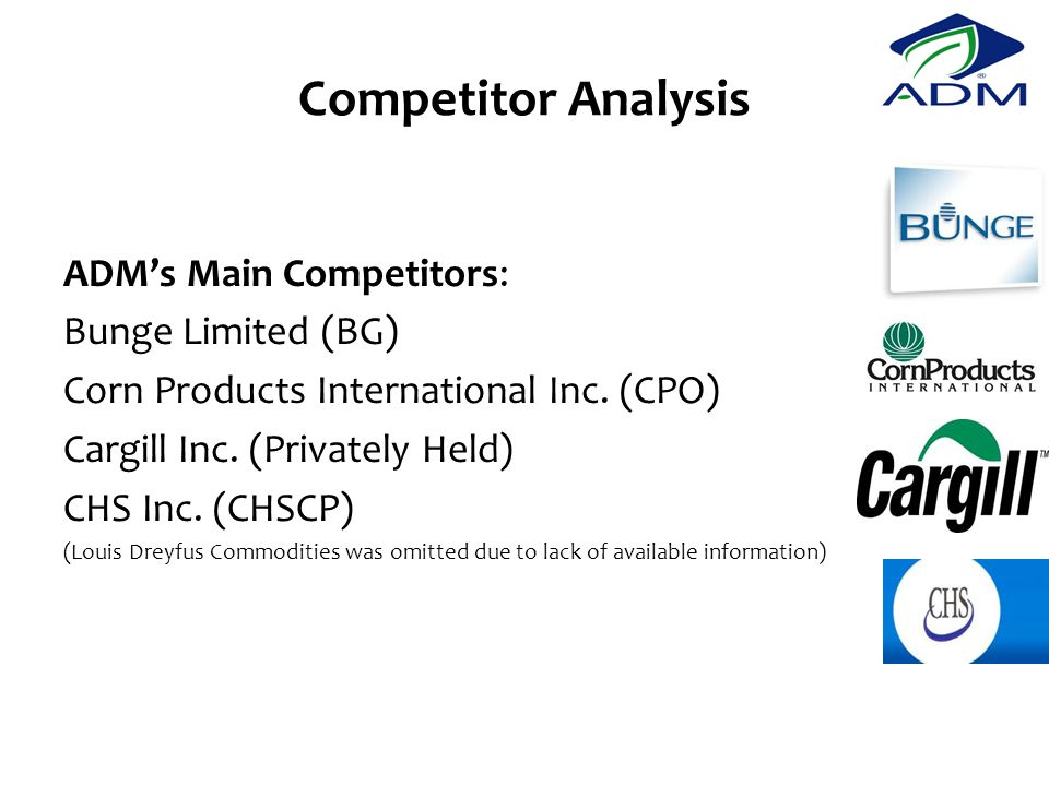 Competitor Analysis ADM's Main Competitors: Bunge Limited (BG) Corn Products International Inc.
