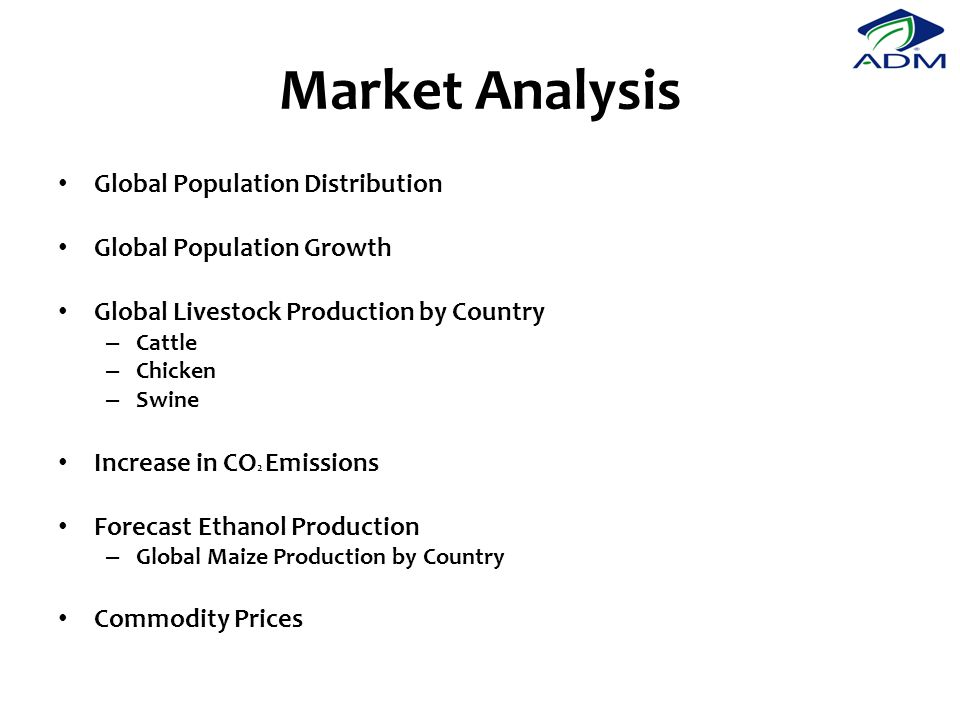 Market Analysis Global Population Distribution Global Population Growth Global Livestock Production by Country – Cattle – Chicken – Swine Increase in CO 2 Emissions Forecast Ethanol Production – Global Maize Production by Country Commodity Prices