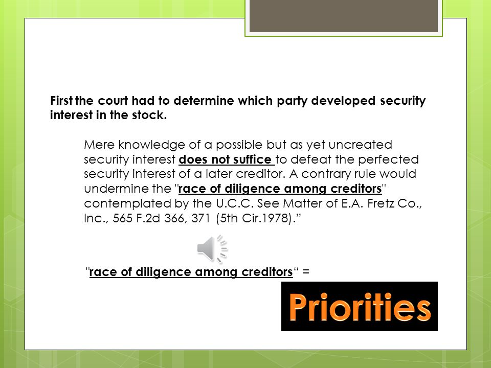 The Issue : Whether the Code recognizes a security interest in stock shares — more precisely, in the language of the code, certificated securities [1] — if the holder of the putative security interest has never possessed the shares. [1] Both the base stock and the dividend stock in this case were represented by certificates — i.e., were certificated.