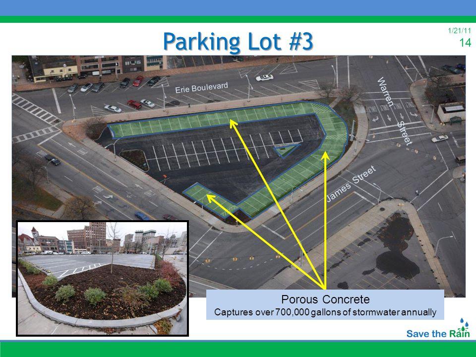 1/21/11 14 Warren Street Parking Lot #3 James Street Erie Boulevard Warren Street James Street Erie Boulevard Porous Concrete Captures over 700,000 ga