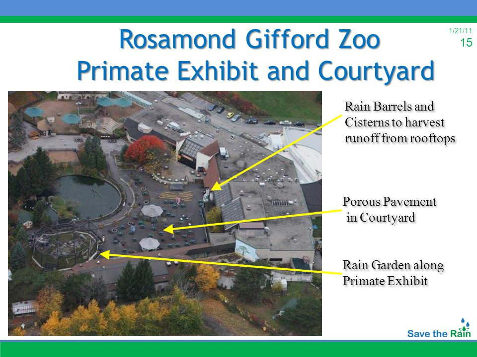 1/21/11 15 Rosamond Gifford Zoo Primate Exhibit and Courtyard Rain Garden along Primate Exhibit Porous Pavement in Courtyard Rain Barrels and Cisterns to harvest runoff from rooftops