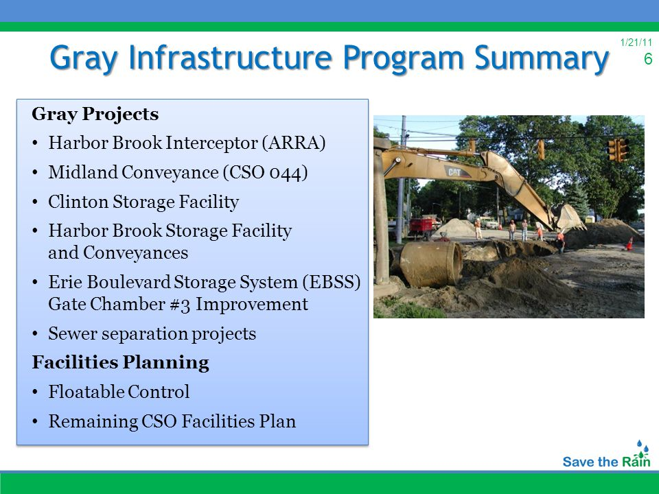 1/21/11 6 Gray Infrastructure Program Summary Gray Projects Harbor Brook Interceptor (ARRA) Midland Conveyance (CSO 044) Clinton Storage Facility Harbor Brook Storage Facility and Conveyances Erie Boulevard Storage System (EBSS) Gate Chamber #3 Improvement Sewer separation projects Facilities Planning Floatable Control Remaining CSO Facilities Plan Gray Projects Harbor Brook Interceptor (ARRA) Midland Conveyance (CSO 044) Clinton Storage Facility Harbor Brook Storage Facility and Conveyances Erie Boulevard Storage System (EBSS) Gate Chamber #3 Improvement Sewer separation projects Facilities Planning Floatable Control Remaining CSO Facilities Plan