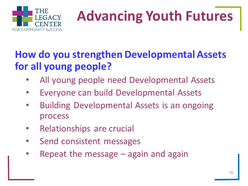 Advancing Youth Futures How do you strengthen Developmental Assets for all young people.