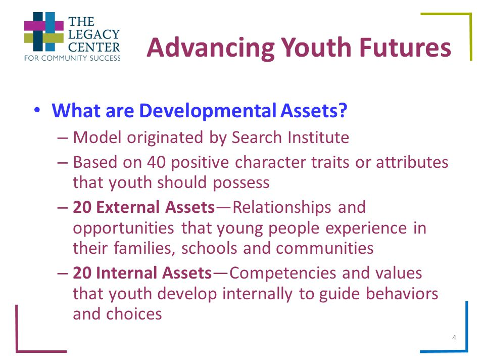 Advancing Youth Futures Developmental Assets approach applied to reducing delinquent behavior in Midland County by Judge Dorene Allen Adopted evidence-based Developmental Asset-building programs among Midland County Court Wards Significant collaboration among community youth-serving agencies in providing Developmental Asset-building programs 25