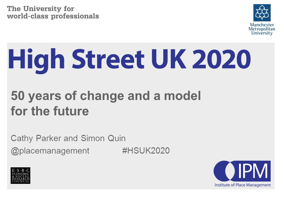 50 years of change and a model for the future Cathy Parker and Simon Quin @placemanagement #HSUK2020