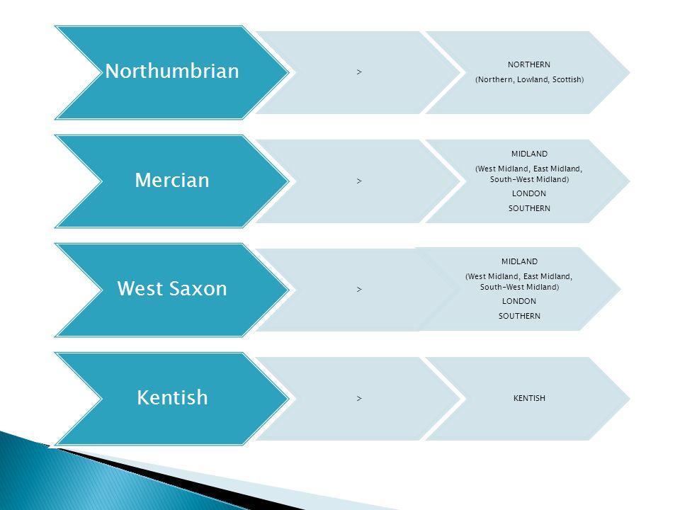 Northumbrian > NORTHERN (Northern, Lowland, Scottish) Mercian > MIDLAND (West Midland, East Midland, South-West Midland) LONDON SOUTHERN West Saxon > MIDLAND (West Midland, East Midland, South-West Midland) LONDON SOUTHERN Kentish >KENTISH