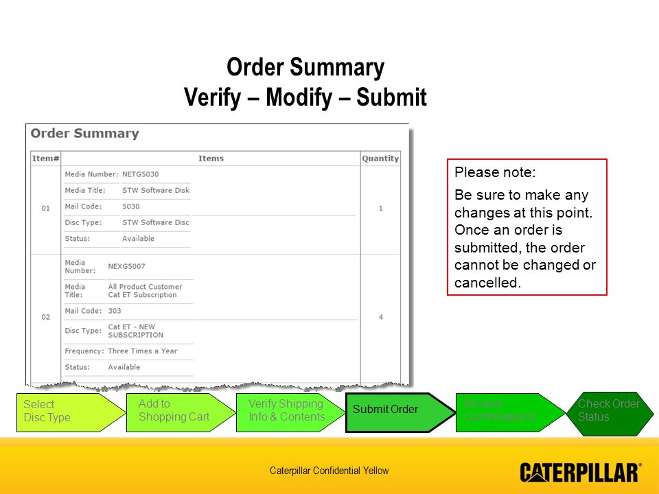 Caterpillar Confidential Yellow Order Summary Verify – Modify – Submit Select Disc Type Add to Shopping Cart Verify Shipping Info & Contents Submit Order Receive Confirmation # Check Order Status Please note: Be sure to make any changes at this point.