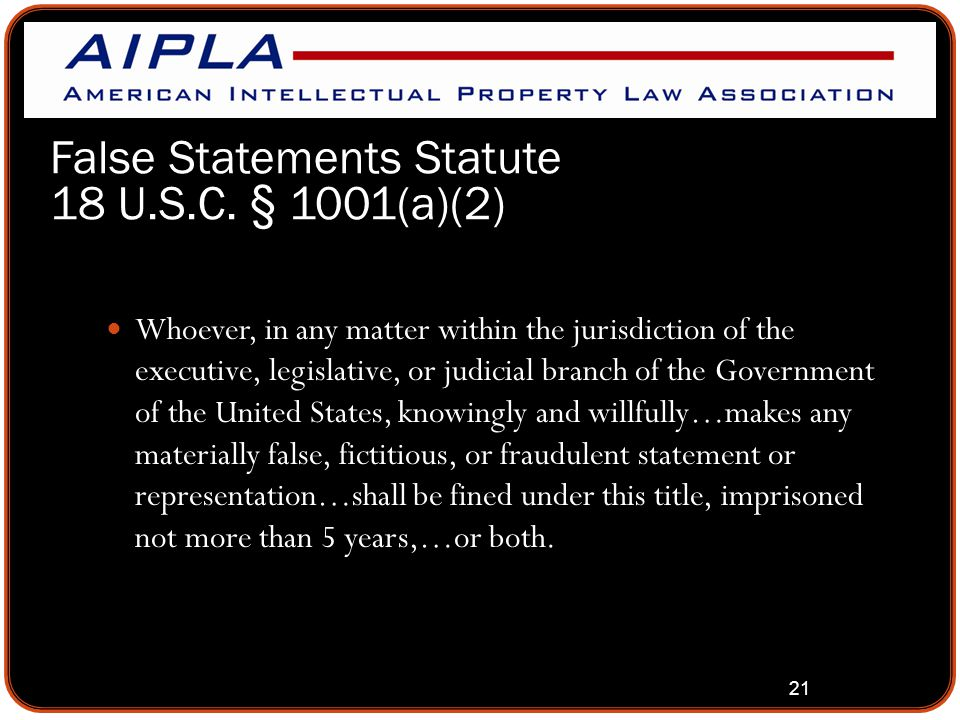 21 False Statements Statute 18 U.S.C.