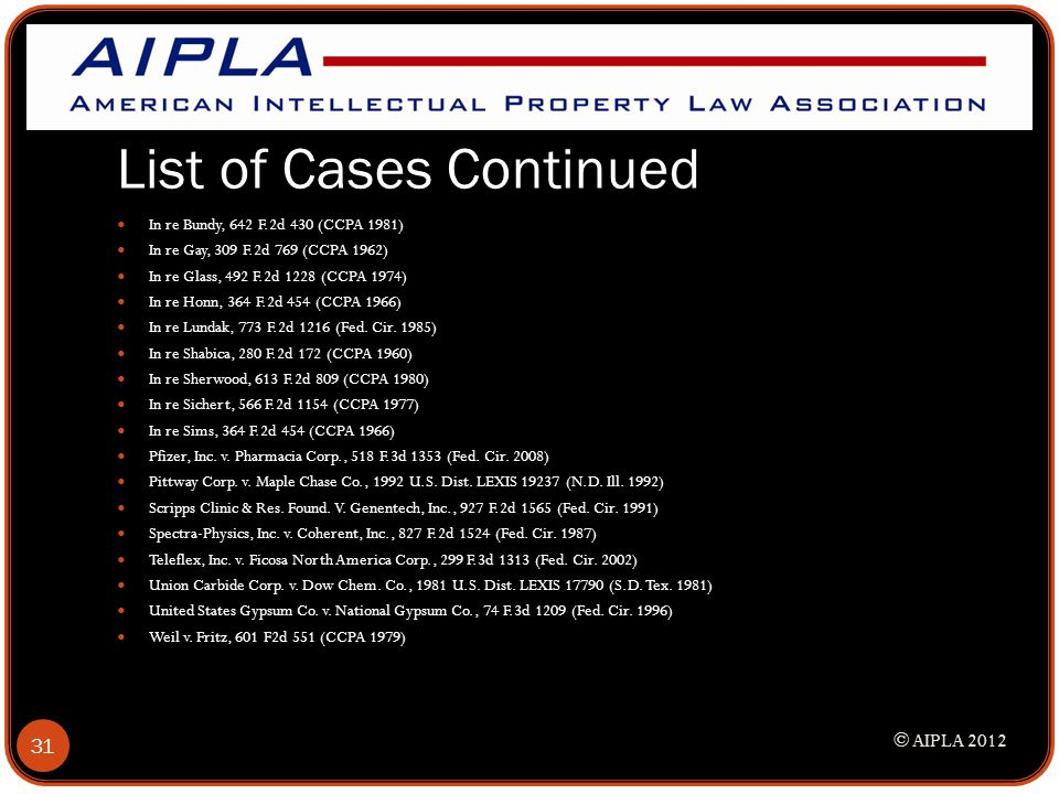 List of Cases Continued In re Bundy, 642 F.2d 430 (CCPA 1981) In re Gay, 309 F.2d 769 (CCPA 1962) In re Glass, 492 F.2d 1228 (CCPA 1974) In re Honn, 3