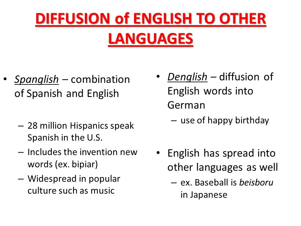 DIFFUSION of ENGLISH TO OTHER LANGUAGES Spanglish – combination of Spanish and English – 28 million Hispanics speak Spanish in the U.S. – Includes the