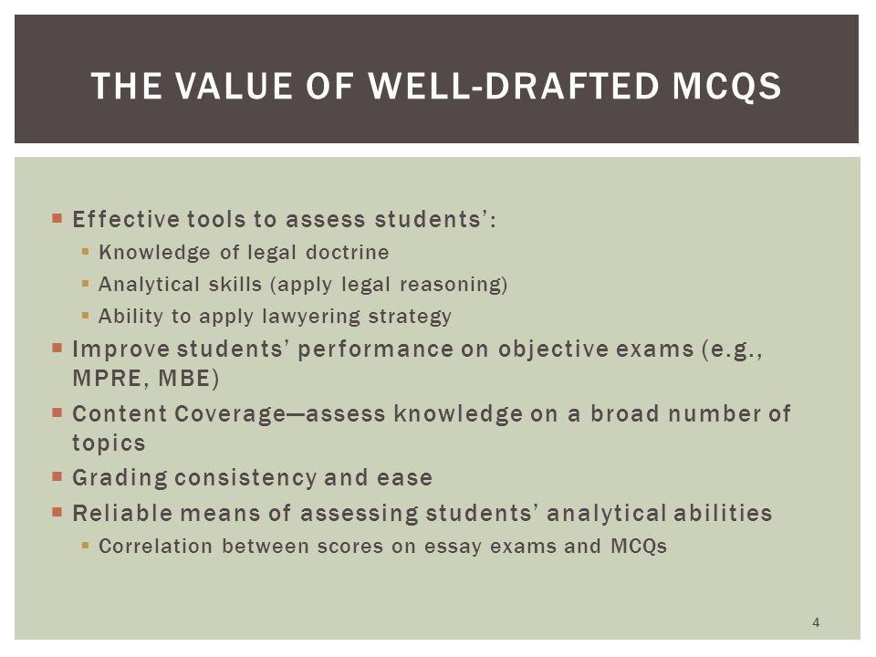 Each of the following is critical to drafting effective MCQs:  The Factual Scenario/Vignette (Stem)  The Lead-In (Question)  Options (Key and Distractors) COMPONENTS OF A MCQ 5