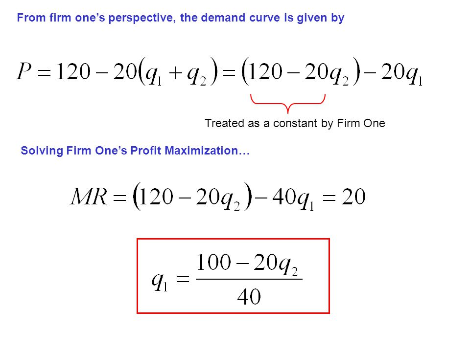 From firm one's perspective, the demand curve is given by Treated as a constant by Firm One Solving Firm One's Profit Maximization…