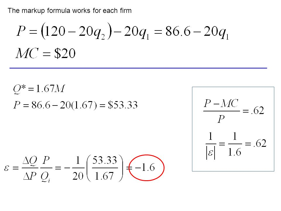 The markup formula works for each firm