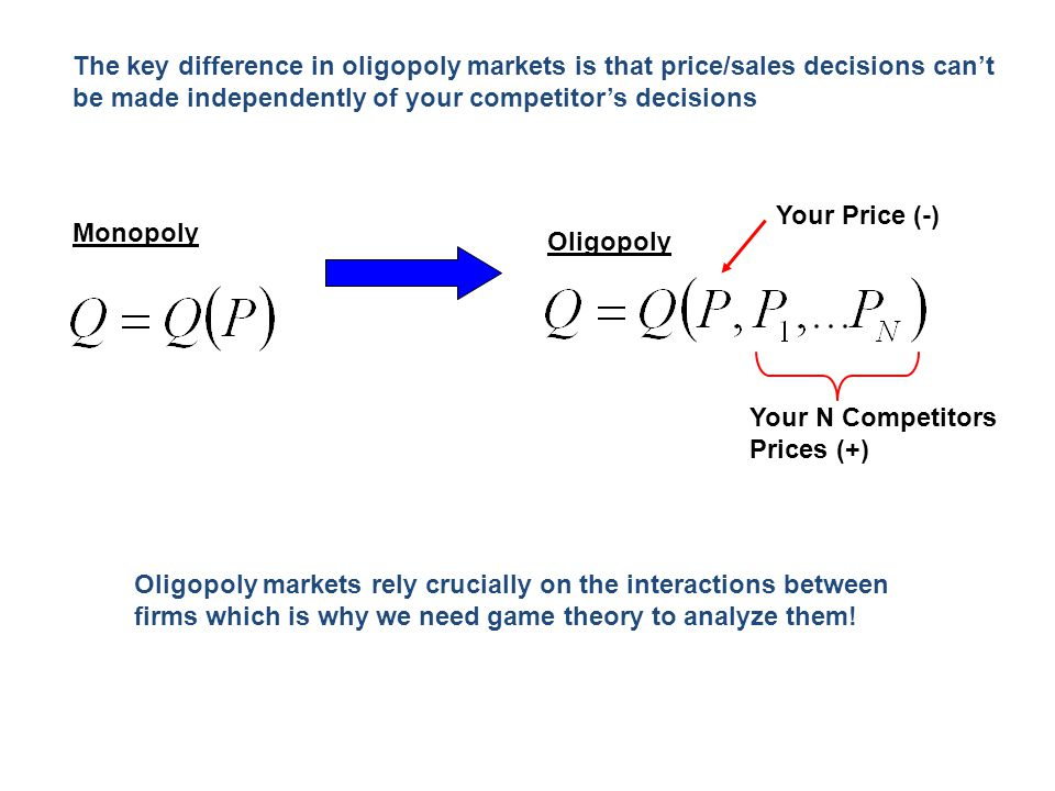 The key difference in oligopoly markets is that price/sales decisions can't be made independently of your competitor's decisions Monopoly Oligopoly Yo