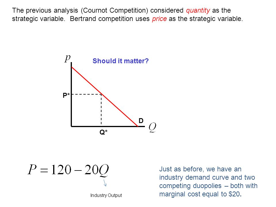 The previous analysis (Cournot Competition) considered quantity as the strategic variable. Bertrand competition uses price as the strategic variable.