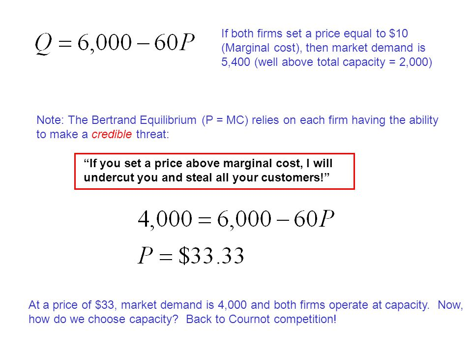 If both firms set a price equal to $10 (Marginal cost), then market demand is 5,400 (well above total capacity = 2,000) Note: The Bertrand Equilibrium