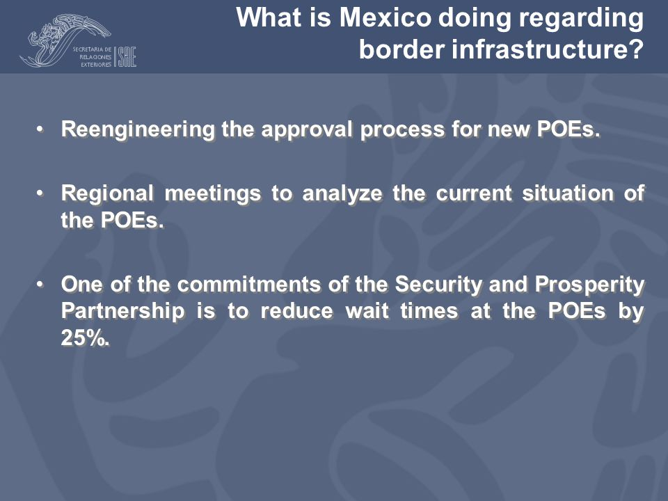 What is Mexico doing regarding border infrastructure.