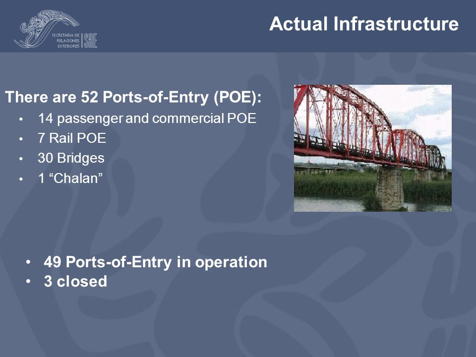 Actual Infrastructure There are 52 Ports-of-Entry (POE): 14 passenger and commercial POE 7 Rail POE 30 Bridges 1 Chalan There are 52 Ports-of-Entry (POE): 14 passenger and commercial POE 7 Rail POE 30 Bridges 1 Chalan 49 Ports-of-Entry in operation 3 closed