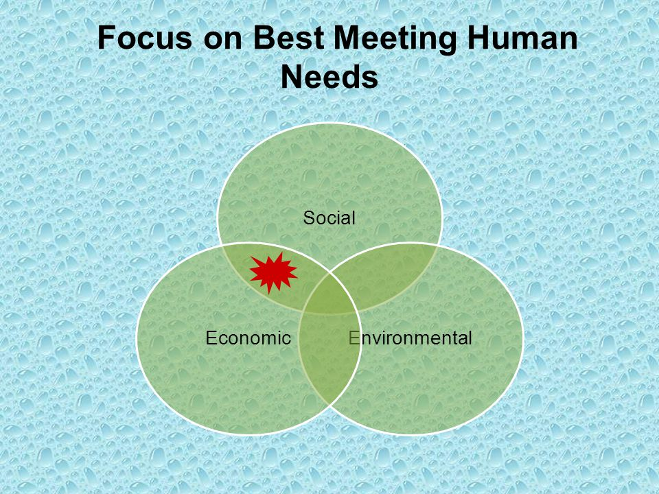 Focus on Best Meeting Human Needs Social EnvironmentalEconomic