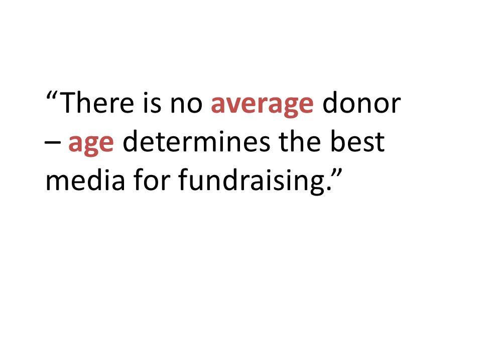 There is no average donor – age determines the best media for fundraising.