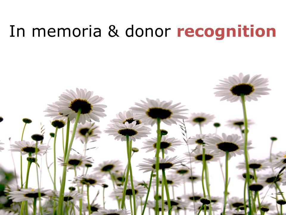 In memoria & donor recognition