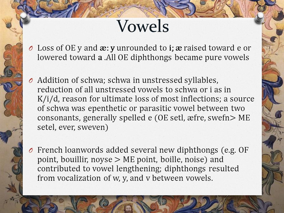 Vowels O Loss of OE y and æ: y unrounded to i; æ raised toward e or lowered toward a.All OE diphthongs became pure vowels O Addition of schwa; schwa in unstressed syllables, reduction of all unstressed vowels to schwa or i as in K/i/d, reason for ultimate loss of most inflections; a source of schwa was epenthetic or parasitic vowel between two consonants, generally spelled e (OE setl, æfre, swefn> ME setel, ever, sweven) O French loanwords added several new diphthongs (e.g.