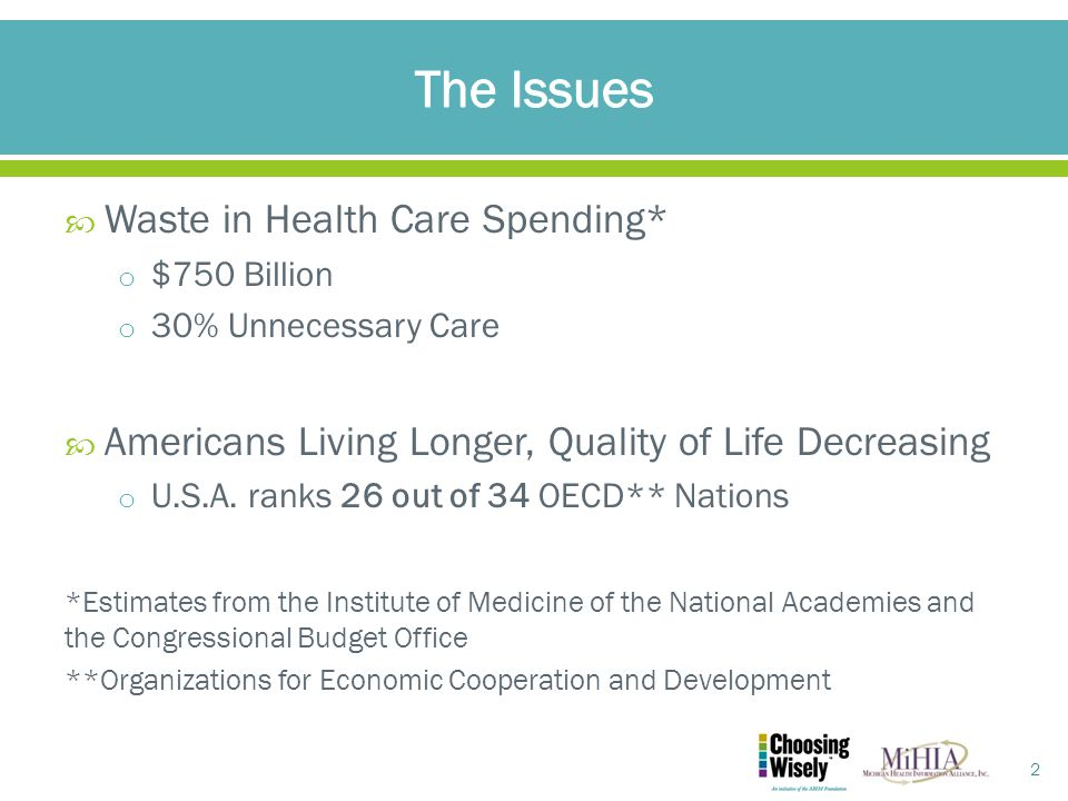  Waste in Health Care Spending* o $750 Billion o 30% Unnecessary Care  Americans Living Longer, Quality of Life Decreasing o U.S.A.