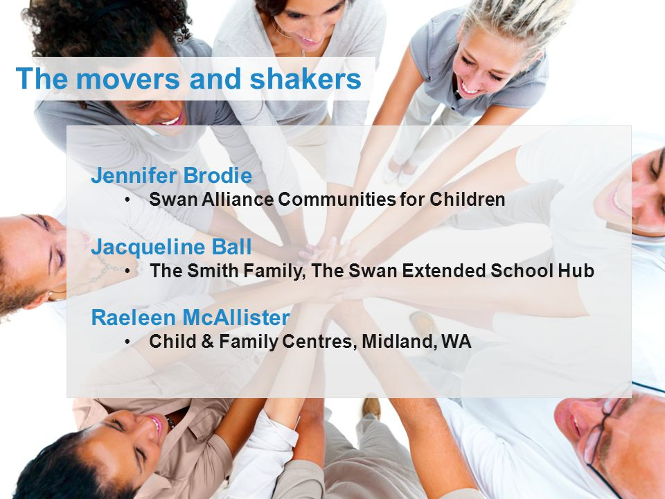 Jennifer Brodie Swan Alliance Communities for Children Jacqueline Ball The Smith Family, The Swan Extended School Hub Raeleen McAllister Child & Famil