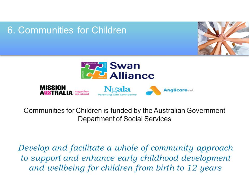 Communities for Children is funded by the Australian Government Department of Social Services 6. Communities for Children Develop and facilitate a who