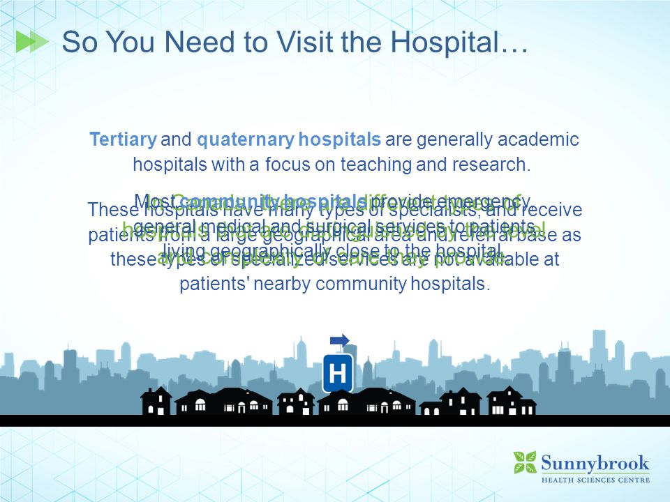 These hospitals have many types of specialists, and receive patients from a large geographical area and referral base as these types of specialized se