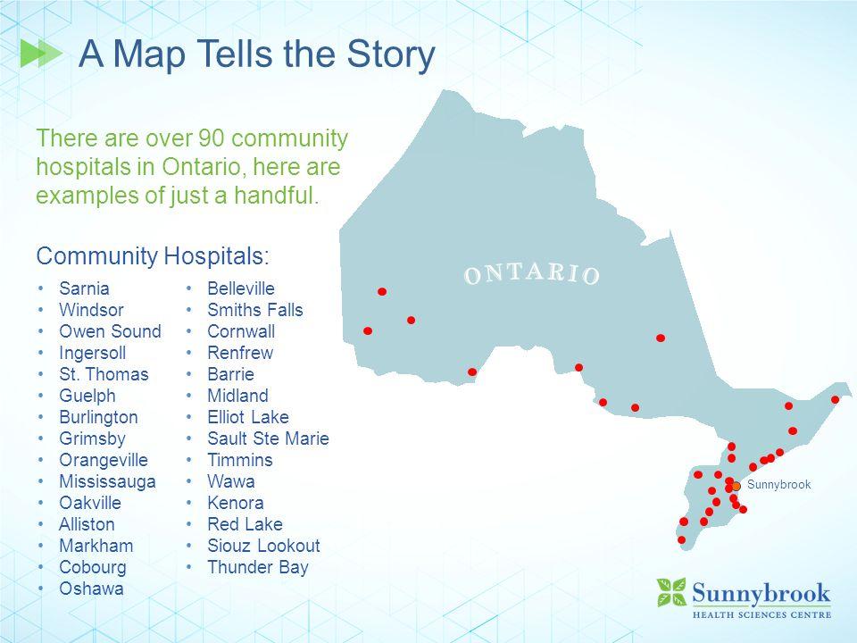 A Map Tells the Story Sarnia Windsor Owen Sound Ingersoll St. Thomas Guelph Burlington Grimsby Orangeville Mississauga Oakville Alliston Markham Cobou